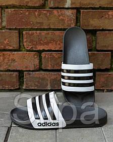 Мужские шлепанцы в стиле Adidas чёрные с белым