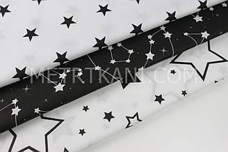 Набор тканей 40*40 из 3-х шт  со звездами №НБ-02