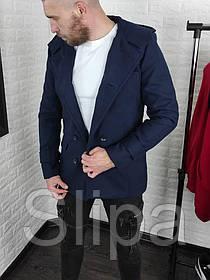Мужское двубортное кашемировое пальто с капюшоном тёмно-синее