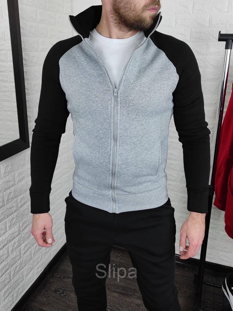 Мужская теплая кофта олимпийка с чёрными рукавами