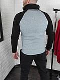 Мужская теплая кофта олимпийка с чёрными рукавами, фото 2