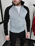 Мужская теплая кофта олимпийка с чёрными рукавами, фото 7