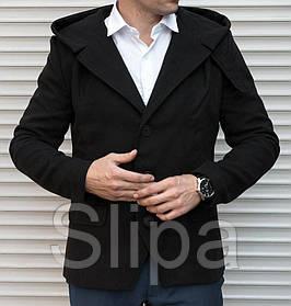 Молодежное мужское пальто - тренч , черного цвета из кашемира