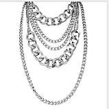 Многослойная цепочка на шею с кулоном ожерелье колье, фото 3