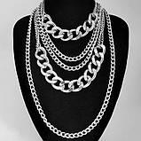 Многослойная цепочка на шею с кулоном ожерелье колье, фото 2