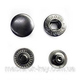 Кнопка металлическая Альфа 15мм. Турция цвет темный-никель (50 шт в упаковке)