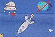 Сатин (хлопковая ткань) на синем планеты и ракеты, фото 2