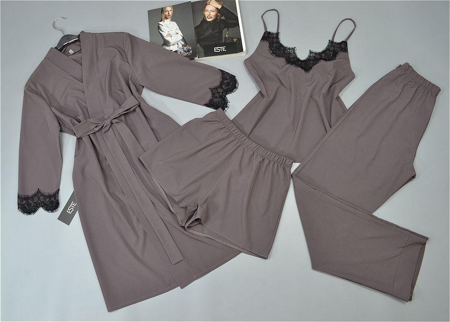 Комплект женской домашней одежды халат и пижама тройка 206-215 какао.