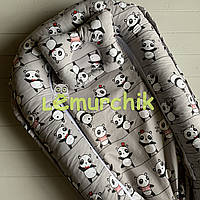 Гнездо-кокон для новорожденного 85Х40 см (подушка для беременной, подушка для кормления) Панды серая