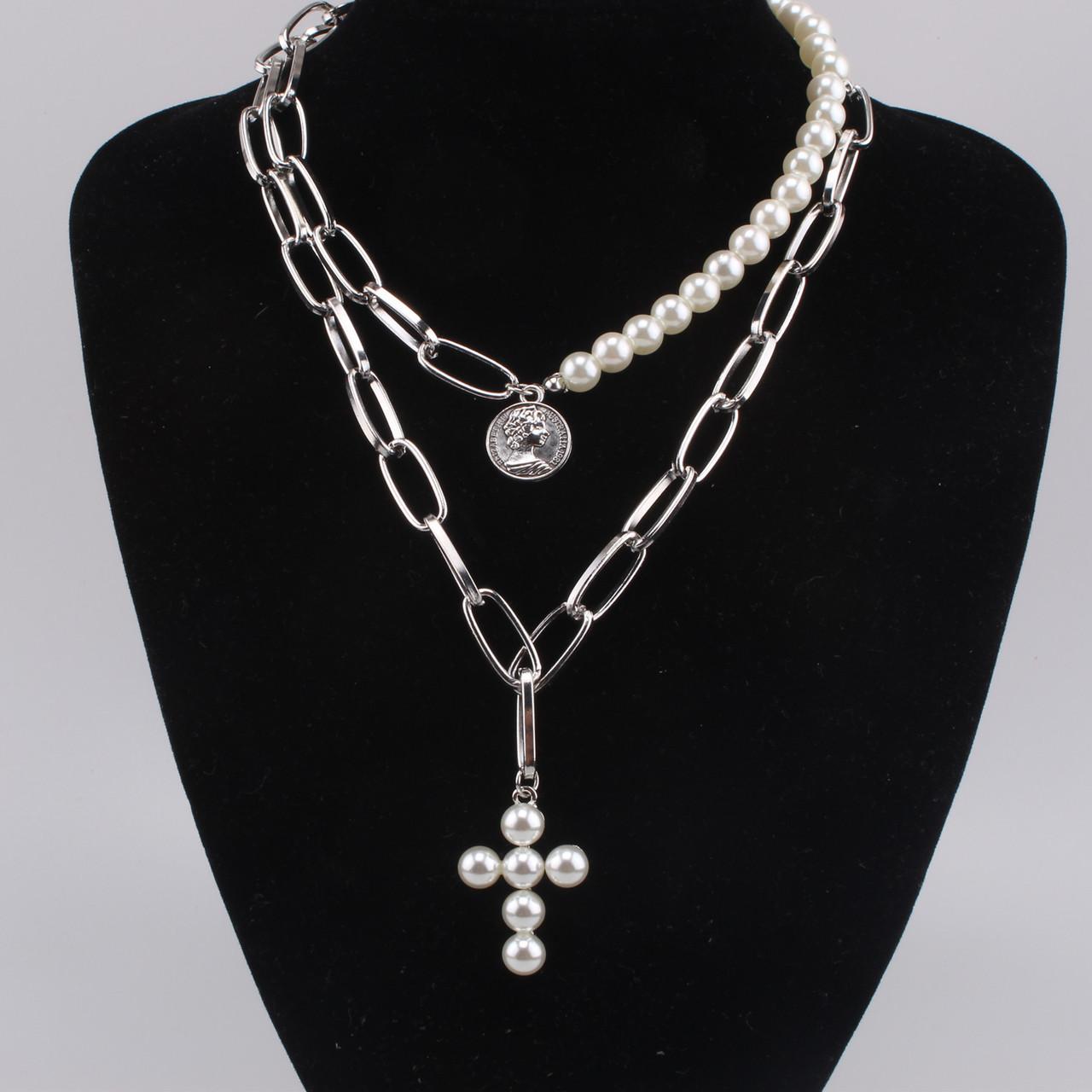 Толстая цепочка крупная цепь колье ожерелье двойная цепь с жемчугом