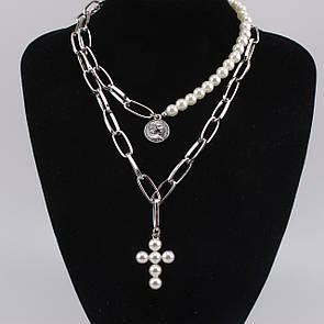 Товста ланцюжок велика ланцюг кольє намисто подвійна ланцюг з перлами