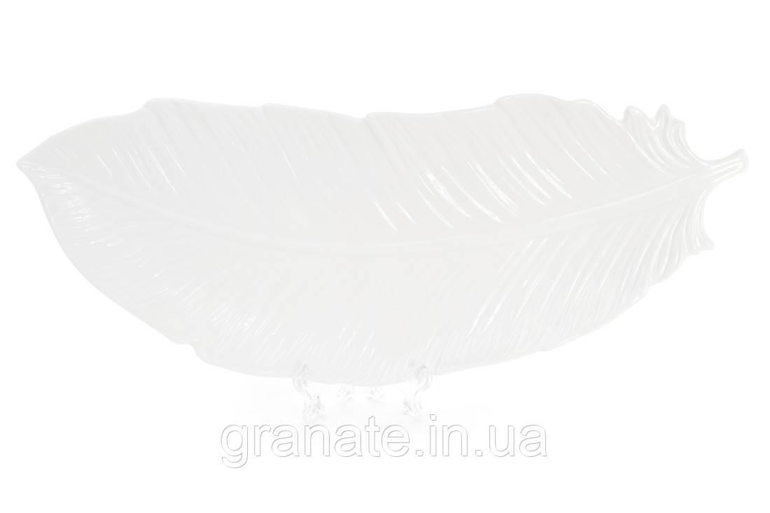 Блюдо фарфоровое сервировочное Перо 40см, цвет - белый 2 шт