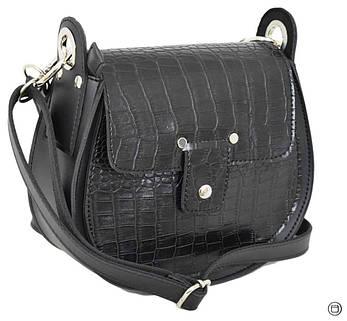 Женская сумка из иск-кожи Case 662 крокодил черная, фото 2