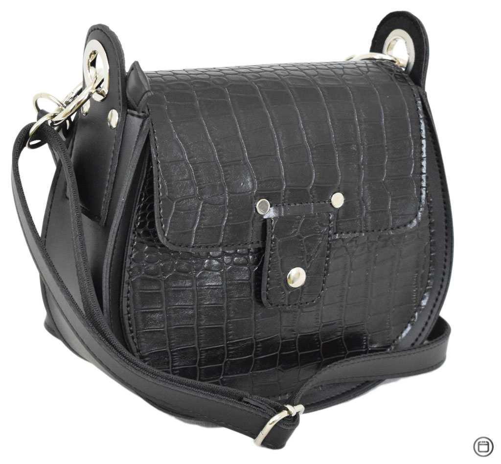 Женская сумка из иск-кожи Case 662 крокодил черная
