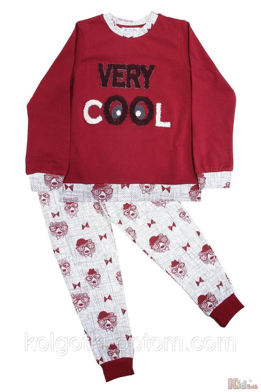 """ОПТОМ Упаковка (104-110-116-122-128-134)  Пижама цвета бордо """"Honey Bear"""" для мальчика Pikidor 1111000002112"""
