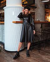 Модное черное платье миди из эко кожи, фото 1