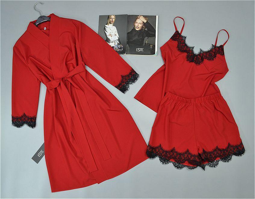 Комплект тройка с кружевом для сна и дома. Халат и пижама ( майка+шорты).