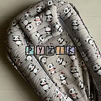 Гнездо-кокон для новорожденного 85Х40 см (подушка для беременной, подушка для кормления) Панда серое
