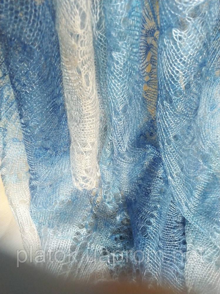 Палантин Голубая волна П-00095-2, оренбургский шарф-палантин