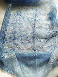 Палантин Голубая волна П-00095-2, оренбургский шарф-палантин, фото 2