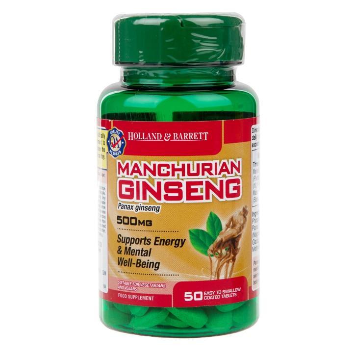 Биологически активная добавка Holland & Barrett Manchurian Ginseng 500 mg, 50 шт.