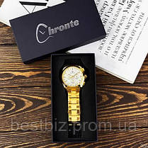 Оригінальні чоловічі механічні наручні годинники з автопідзаводом Forsining Chronte S899 Gold-White, фото 2