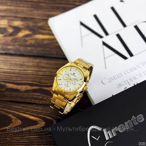Оригінальні чоловічі механічні наручні годинники з автопідзаводом Forsining Chronte S899 Gold-White
