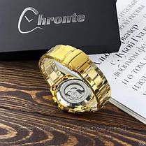 Оригінальні чоловічі механічні наручні годинники з автопідзаводом Forsining Chronte S899 Gold-White, фото 3