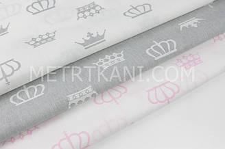 """Набор тканей 50*50 из 3-х шт  """"Коронки"""" серые, белые и розовые  №НБ-07"""