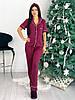 Женская трикотажная пижама рубашка и брюки с повязкой