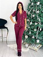 Женская трикотажная пижама рубашка и брюки с повязкой, фото 1