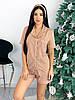 Жіноча піжама з сорочкою і шортами в горошок