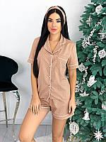 Женская пижама с рубашкой и шортами в горошек, фото 1