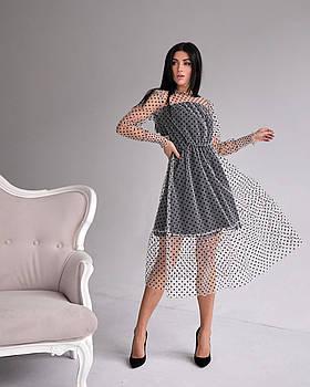 / Размер 42,44,46 / Женское нарядное платье 1286.3 / цвет бежевый