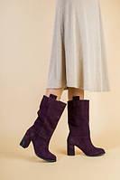 Зимние замшевые сапоги, цвет слива, 36