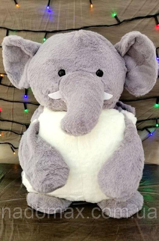 Игрушка подушка плед Слон серый/розовый ,коричневый ,голубой плед в игрушке