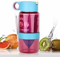 Детская бутылка с поилкой для самодельных лимонадов Kid Citrus Zinger (медицинский пластик). Фиолетовая.