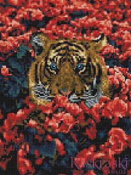 Алмазная вышивка Тигр в цветах 30 х 40 (EJ1156, На подрамнике) Rainbow Art