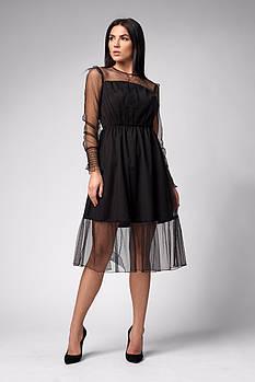/ Размер 42,44,46 / Женское нарядное платье 1286.3 / цвет черный
