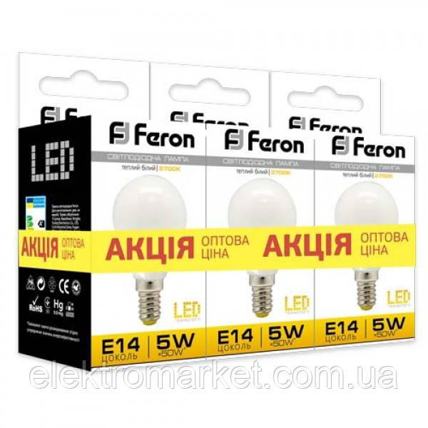 Светодиодная лампа Feron LB-95 5W E14 2700K 3шт. в упаковке