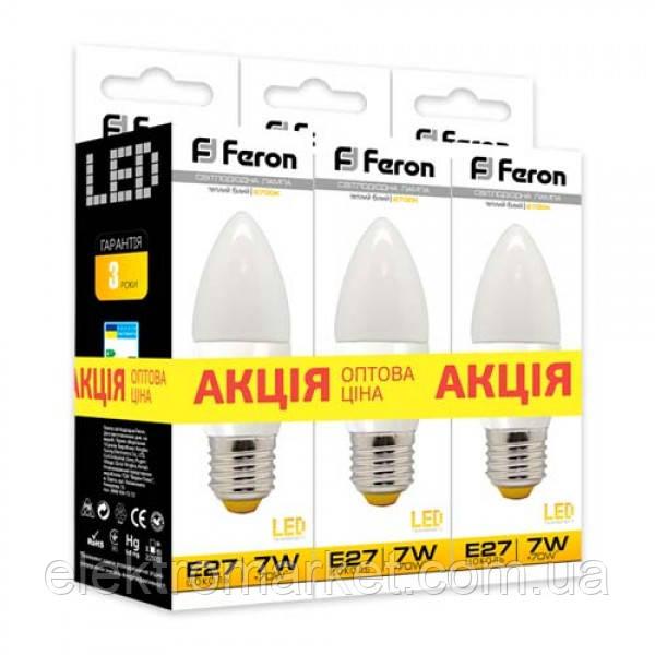 Светодиодная лампа Feron LB-97 7W E27 2700K 3шт. в упаковке