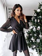 Женское нарядное платье с имитацией запаха с поясом, фото 1