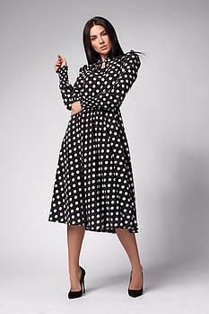 / Размер 42,44,46,48 / Женское Нарядное платье отрезное по талии 1285.2 / цвет черный