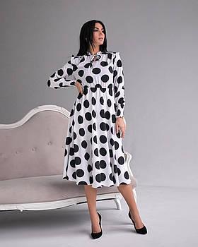 / Размер 42,44,46,48 / Женское Нарядное платье отрезное по талии 1285.1 / цвет белый