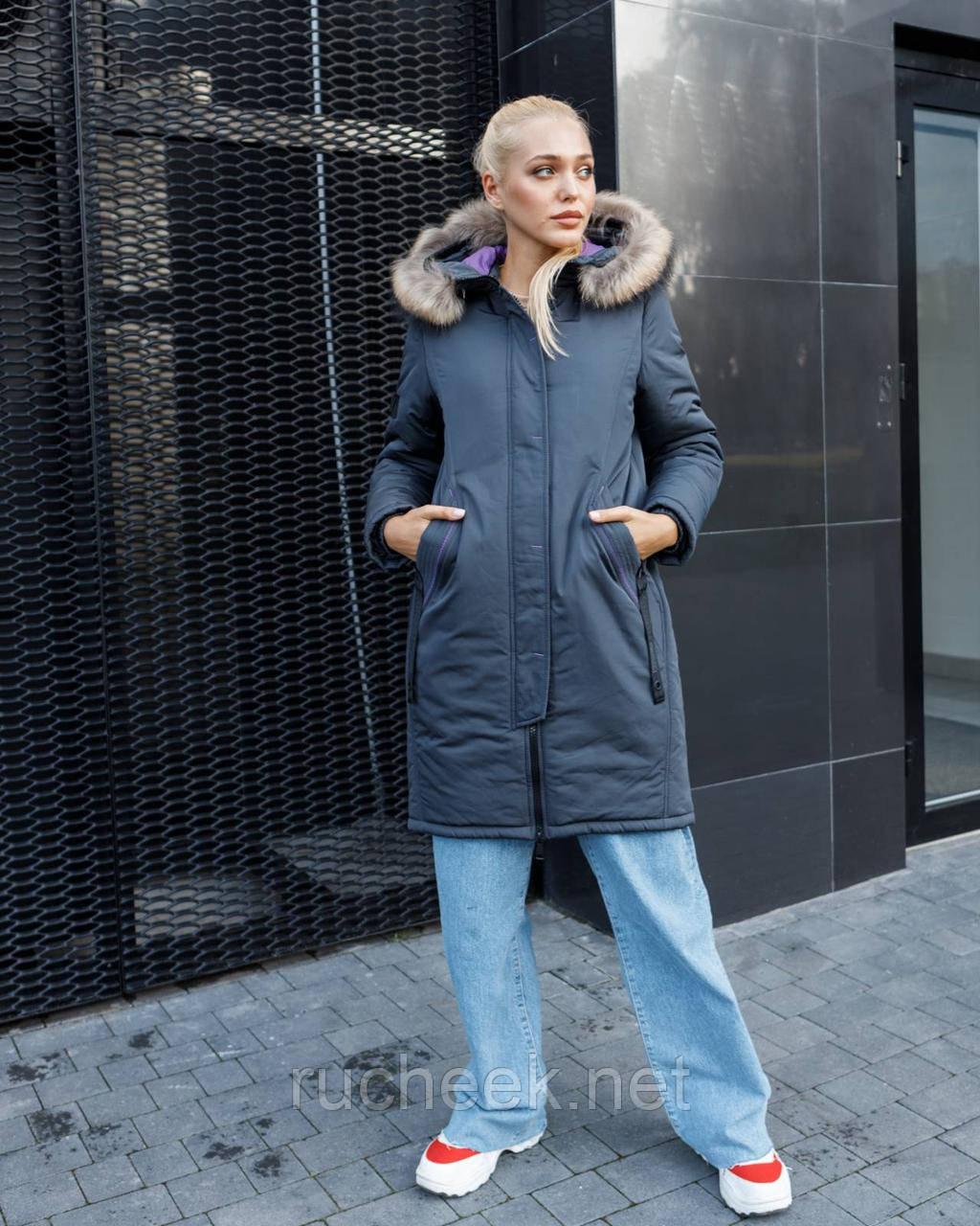 Зимняя куртка женская с мехом размер 50-52. Зимняя парка