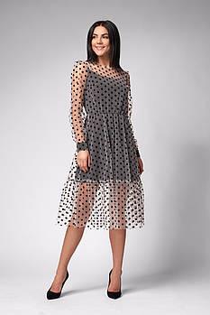 / Размер 42,44,46 / Женское Нарядное платье отрезное по талии 1284 / цвет белый