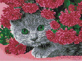 Алмазная вышивка Кот в цветах 30 х 40 (EJ931, На подрамнике) Rainbow Art