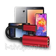 Адаптер-Переходник Type-C для зарядки телефона и подключения наушников Mini Jack 3.5мм MASSLINNA LA002 Red, фото 3