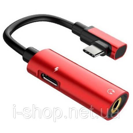 Адаптер-Переходник Type-C для зарядки телефона и подключения наушников Mini Jack 3.5мм MASSLINNA LA002 Red