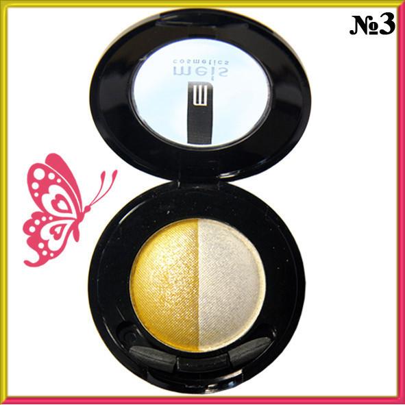 Тени для Век Meis MS 0102 Двухцветные Компактные с Аппликатором Тон 03 Цвета Белый, Желтый Макияж Глаз